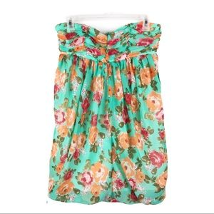 Forever 21 Strapless Green Floral Dress NWT